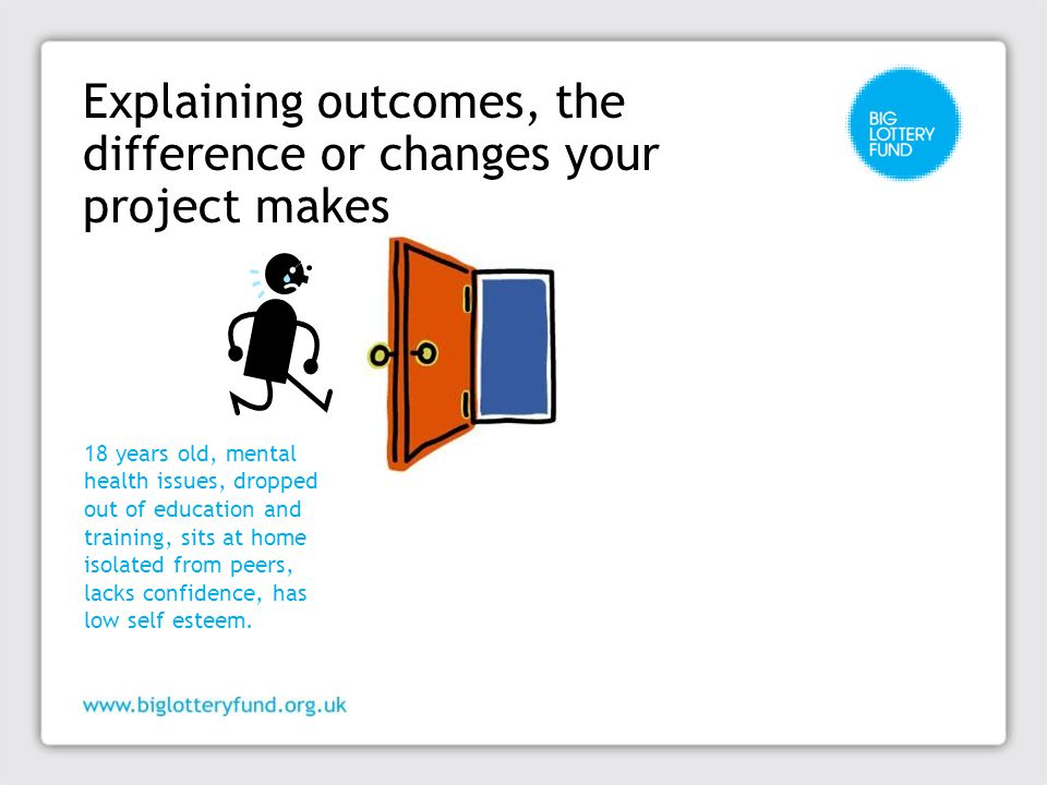 Explaining outcomes, the difference or changes your project makes 18 years old, mental health issues, dropped out of education and training, sits at home isolated from peers, lacks confidence, has low self esteem.