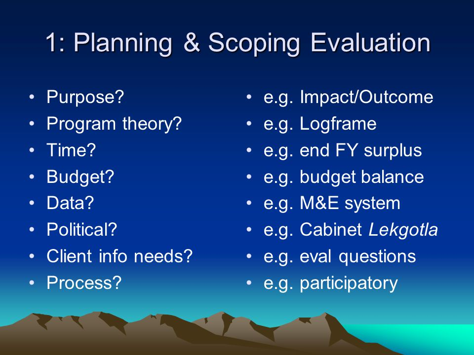 1: Planning & Scoping Evaluation Purpose. Program theory.