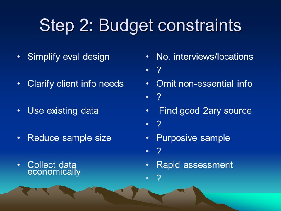 Step 3: Time constraints First 5 time constraints Reduce pressure on the consultant More resource people Results based monitoring Use modern technology Same for budget constraints Supportive management .