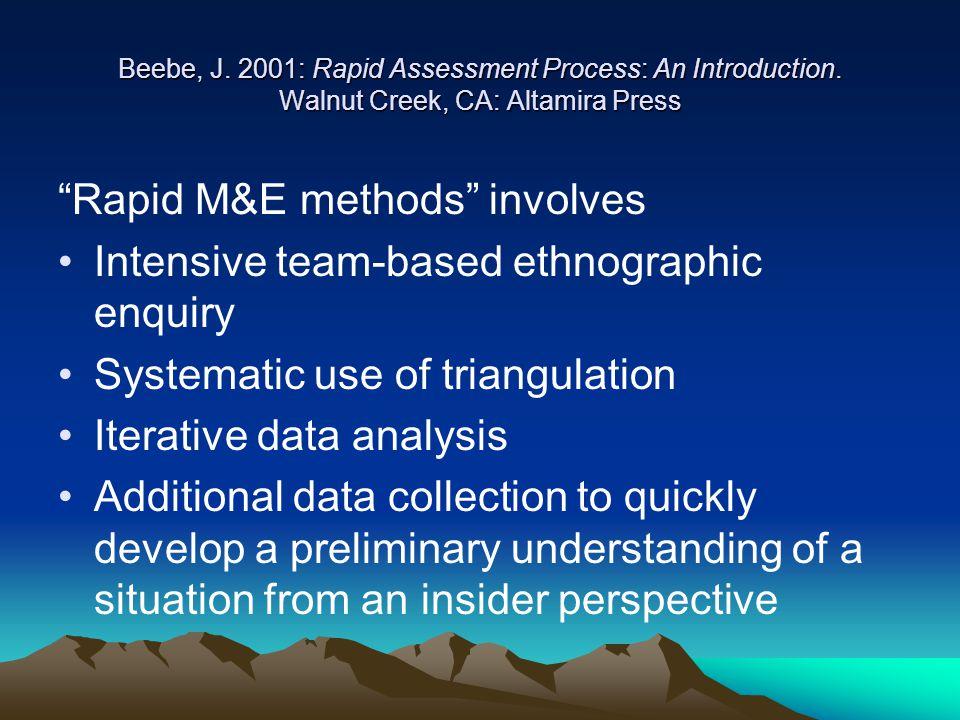 "Beebe, J. 2001: Rapid Assessment Process: An Introduction. Walnut Creek, CA: Altamira Press ""Rapid M&E methods"" involves Intensive team-based ethnogra"