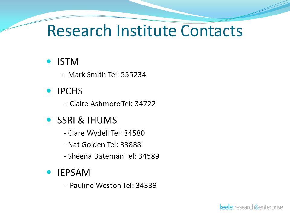 Research Institute Contacts ISTM - Mark Smith Tel: 555234 IPCHS - Claire Ashmore Tel: 34722 SSRI & IHUMS - Clare Wydell Tel: 34580 - Nat Golden Tel: 33888 - Sheena Bateman Tel: 34589 IEPSAM - Pauline Weston Tel: 34339