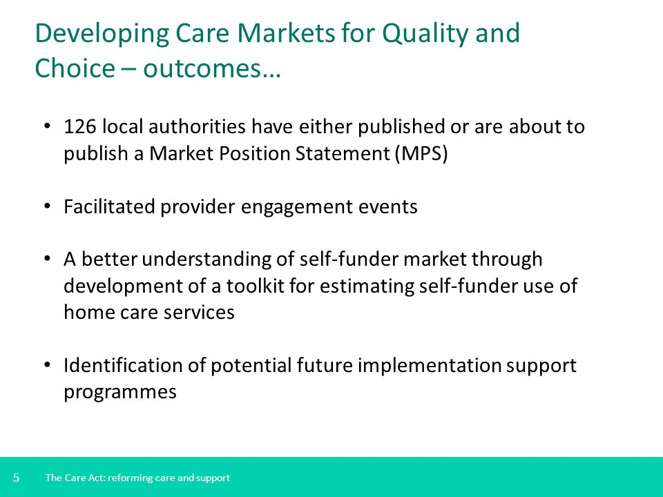 5 The Care Act: reforming care and support Developing Care Markets for Quality and Choice – outcomes… 126 local authorities have either published or are about to publish a Market Position Statement (MPS) Facilitated provider engagement events A better understanding of self-funder market through development of a toolkit for estimating self-funder use of home care services Identification of potential future implementation support programmes