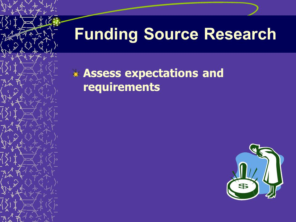 Funding Source Research Assess expectations and requirements