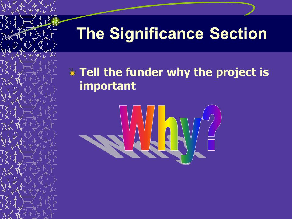 The Significance Section Tell the funder why the project is important