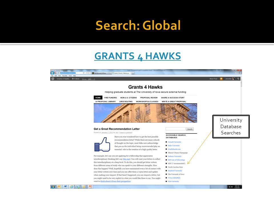 GRANTS 4 HAWKS University Database Searches