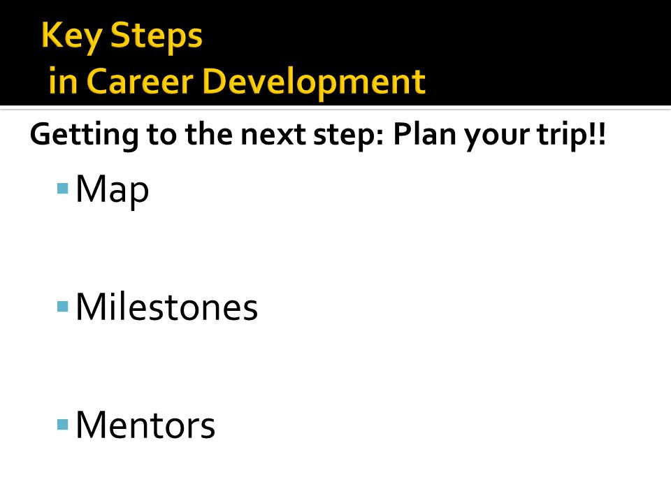 Getting to the next step: Plan your trip!!  Map  Milestones  Mentors