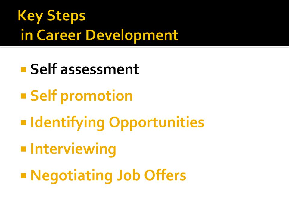  Self assessment  Self promotion  Identifying Opportunities  Interviewing  Negotiating Job Offers