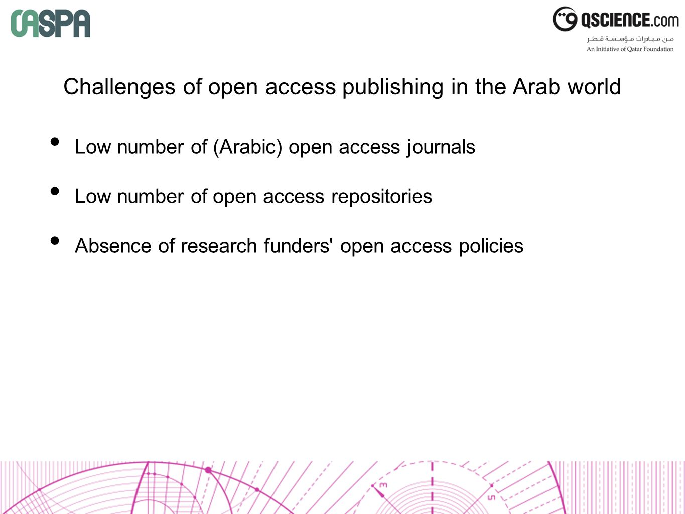 Challenges of open access publishing in the Arab world Low number of (Arabic) open access journals Low number of open access repositories Absence of research funders open access policies