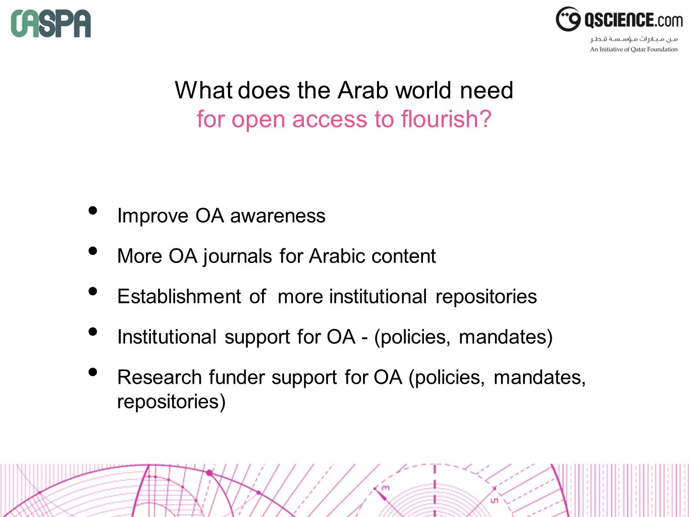 What does the Arab world need for open access to flourish.