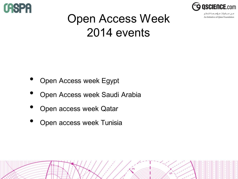 Open Access Week 2014 events Open Access week Egypt Open Access week Saudi Arabia Open access week Qatar Open access week Tunisia