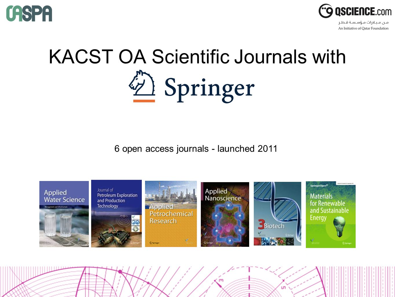KACST OA Scientific Journals with Springer 6 open access journals - launched 2011