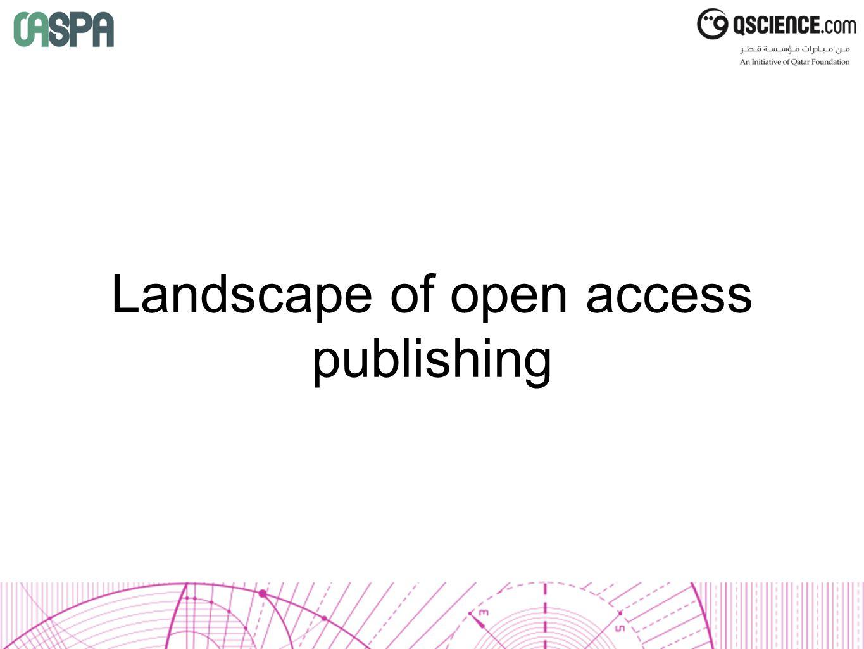 Landscape of open access publishing