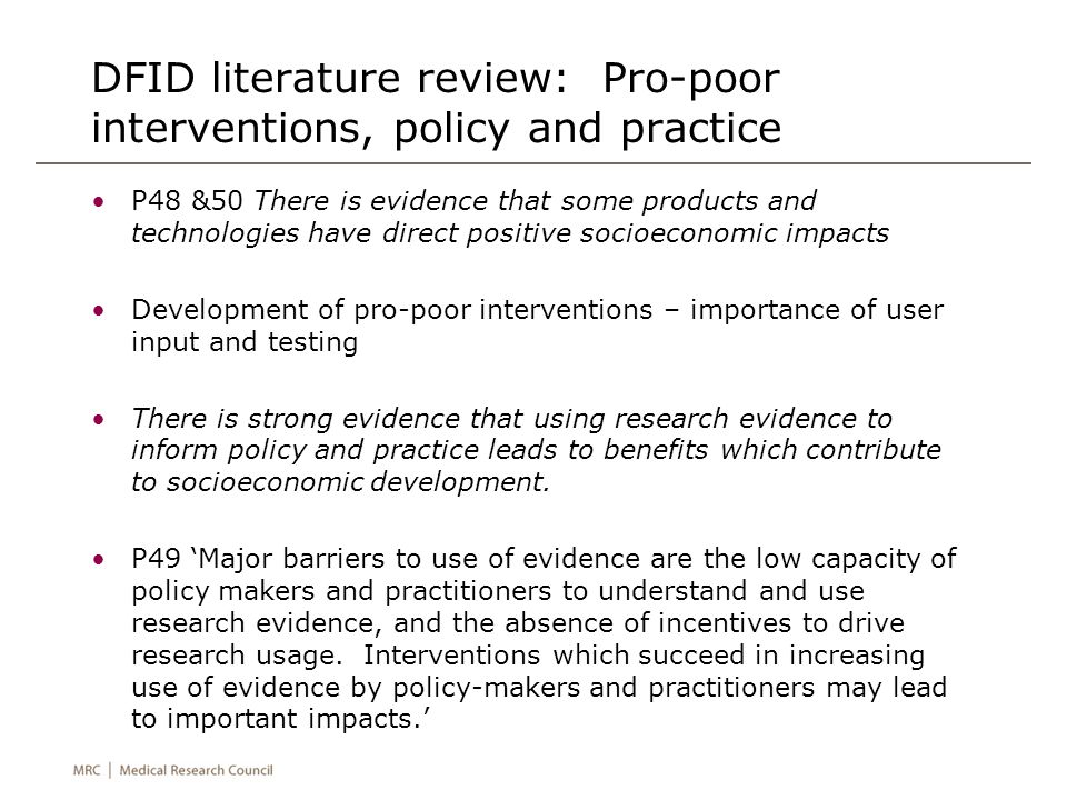 Research for development - conclusions Research alone cannot drive development Research can drive development when there is a translation system in place (e.g.