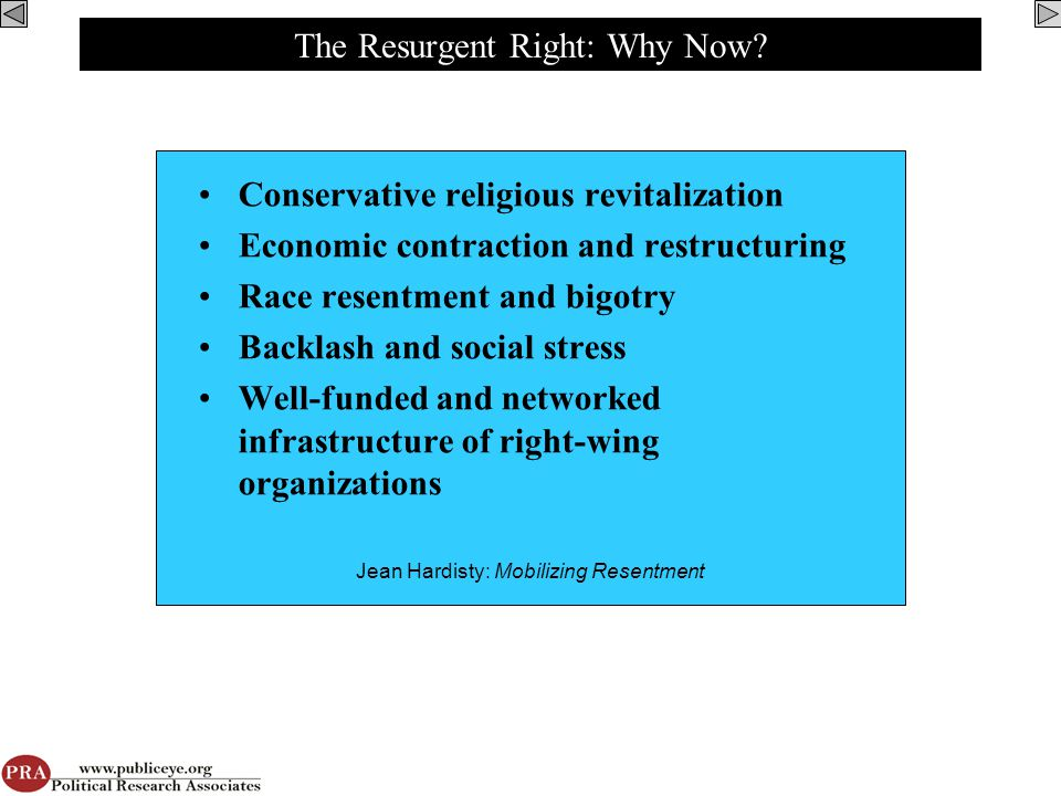 The Resurgent Right: Why Now.