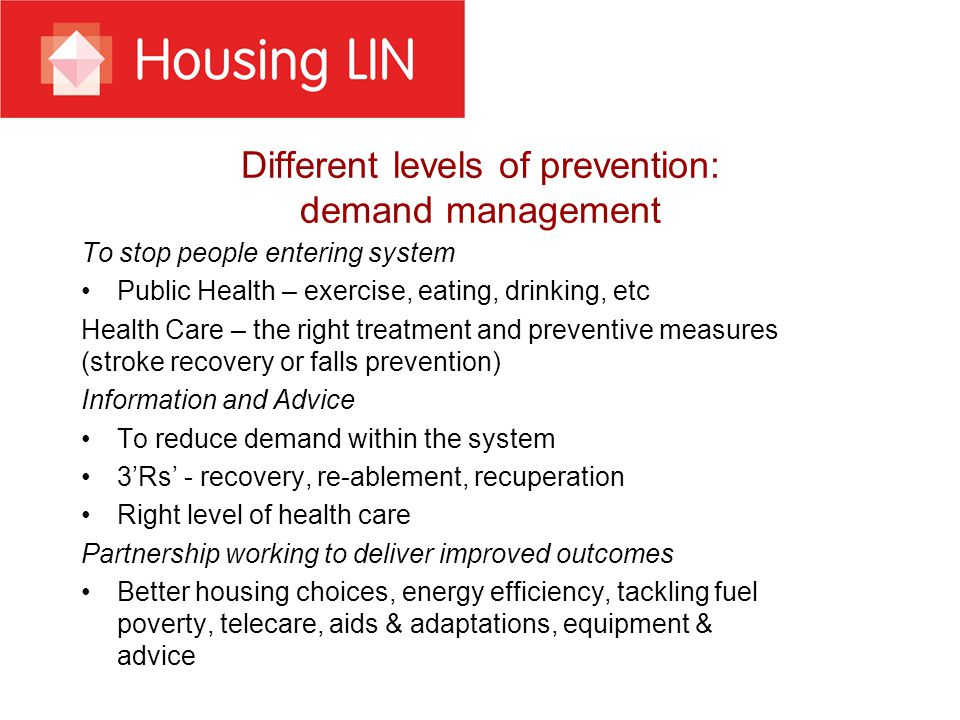 Making integration work: making housing count A consortia of housing providers have been meeting with the NHS Commissioning Board (now NHS England) to formulate a Partnership Agreement that recognises the role of housing Joint select committee report on Care and Support Bill recommended extending the scope of what constitutes wellbeing to include, safe and settled accommodation Department of Health £300m Care and Support Specialised Housing Fund higher quality thresholds to deliver care ready housing for disabled and older people that can improve health and wellbeing Recent government statement on integration and a call for a pioneering approach NHS Confederation briefing, Stronger Together, HWBs need closer engagement with providers, including housing