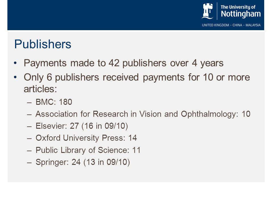Publishers Payments made to 42 publishers over 4 years Only 6 publishers received payments for 10 or more articles: –BMC: 180 –Association for Research in Vision and Ophthalmology: 10 –Elsevier: 27 (16 in 09/10) –Oxford University Press: 14 –Public Library of Science: 11 –Springer: 24 (13 in 09/10)