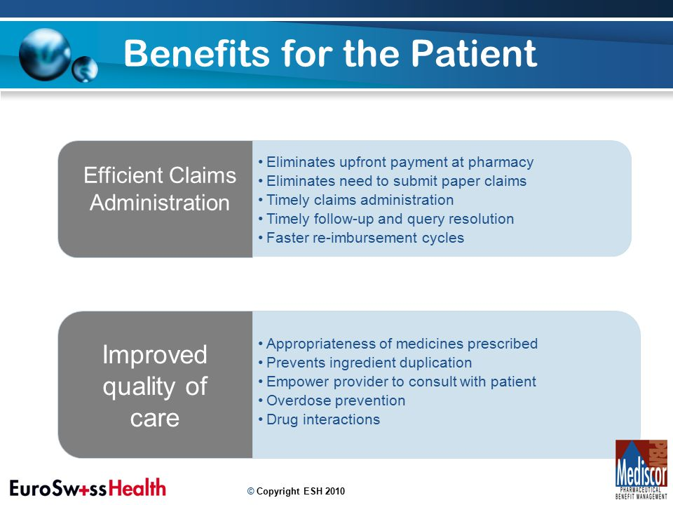 Benefits for the Patient 10 Appropriateness of medicines prescribed Prevents ingredient duplication Empower provider to consult with patient Overdose prevention Drug interactions Improved quality of care Eliminates upfront payment at pharmacy Eliminates need to submit paper claims Timely claims administration Timely follow-up and query resolution Faster re-imbursement cycles Efficient Claims Administration © Copyright ESH 2010