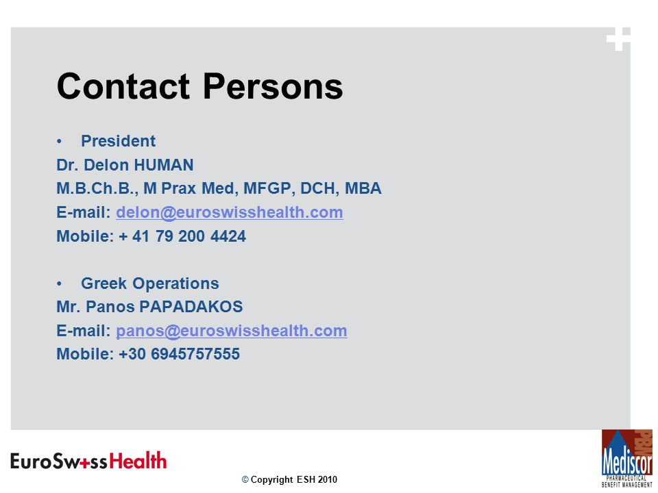 Contact Persons President Dr.