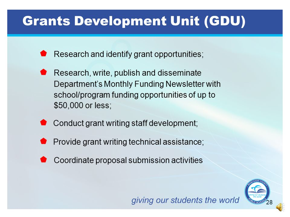 27 OFFICE OF INTERGOVERNMENTAL AFFAIRS, GRANTS ADMINISTRATION AND COMMUNITY ENGAGEMENT   Grants Development Unit (GDU)   Financial Reporting Unit