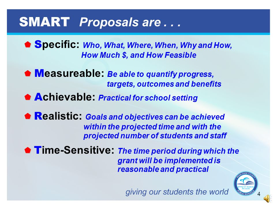 4 SMART Proposals are...