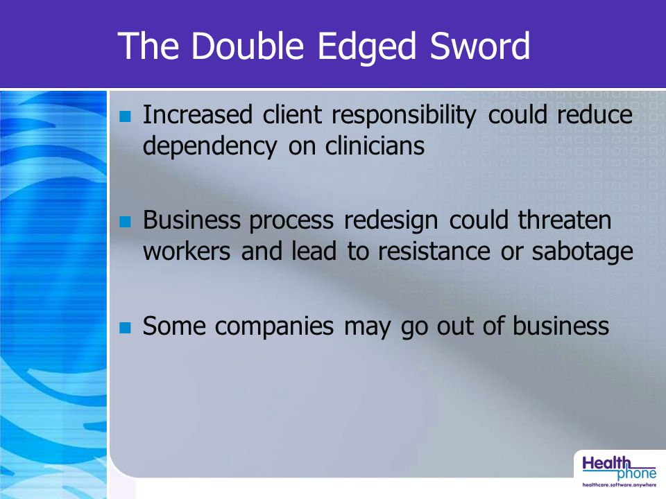 The Double Edged Sword Increased client responsibility could reduce dependency on clinicians Business process redesign could threaten workers and lead to resistance or sabotage Some companies may go out of business