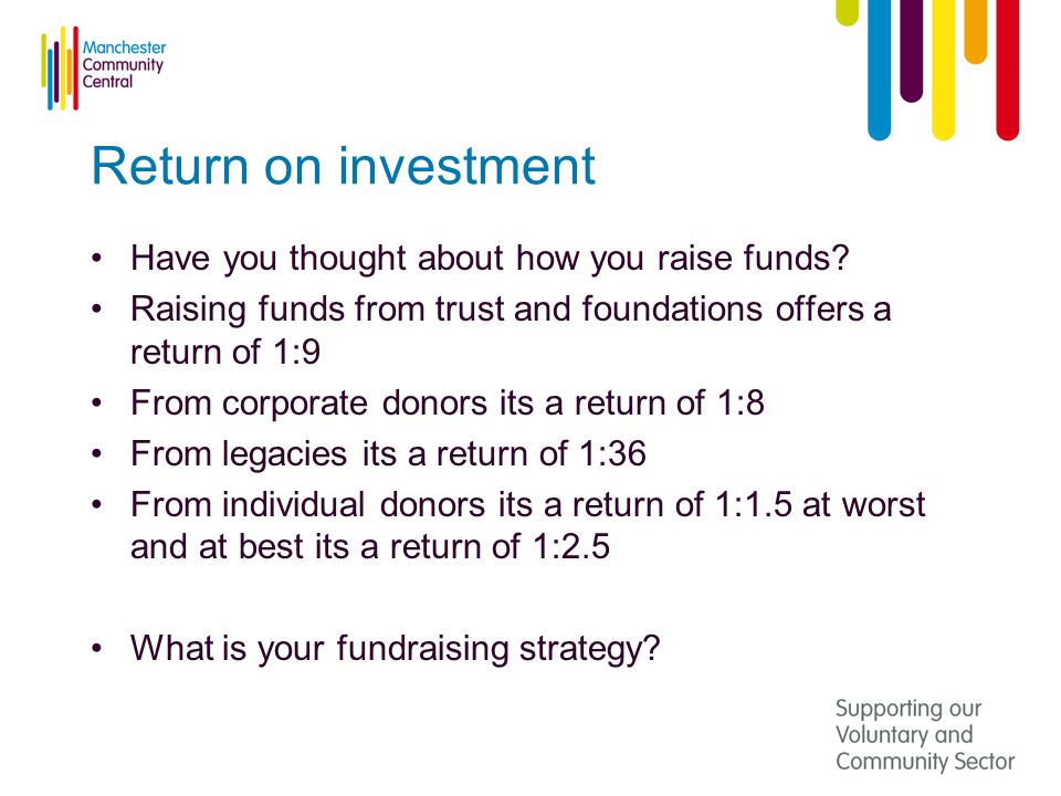 Return on investment Have you thought about how you raise funds.
