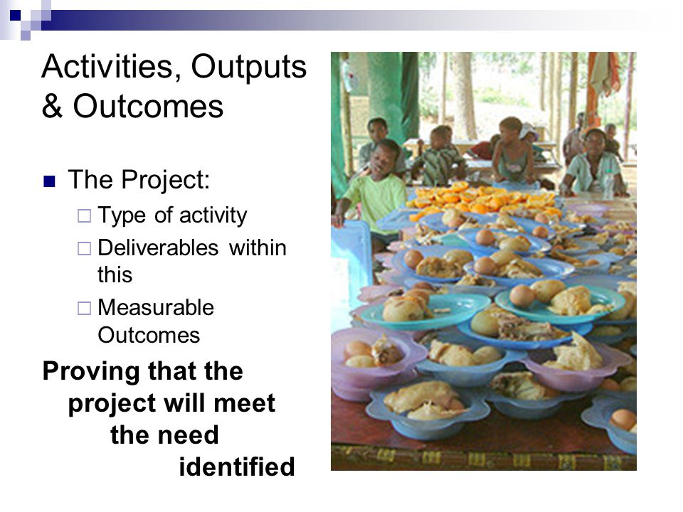 Activities, Outputs & Outcomes The Project:  Type of activity  Deliverables within this  Measurable Outcomes Proving that the project will meet the need identified