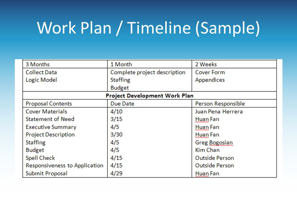 Work Plan / Timeline (Sample)