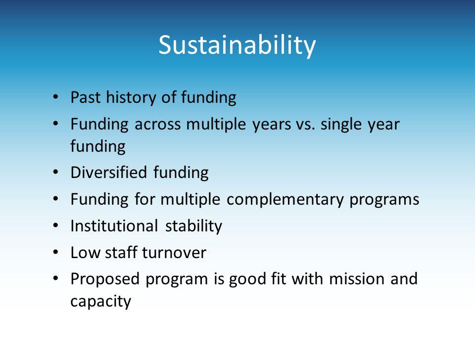 Sustainability Past history of funding Funding across multiple years vs. single year funding Diversified funding Funding for multiple complementary pr