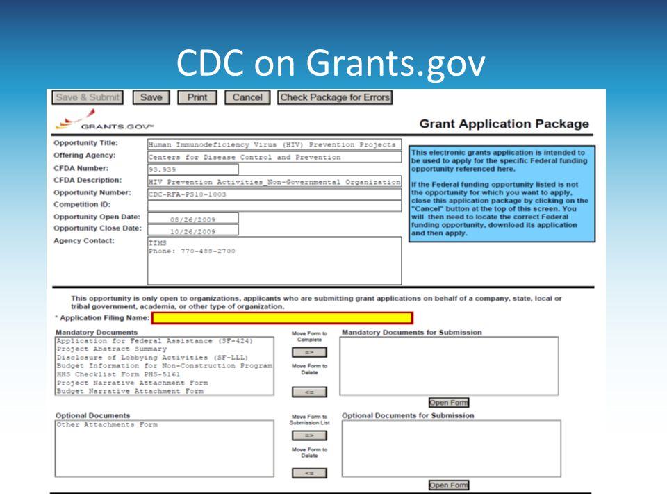 CDC on Grants.gov