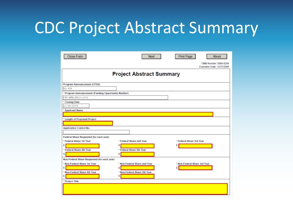 CDC Project Abstract Summary