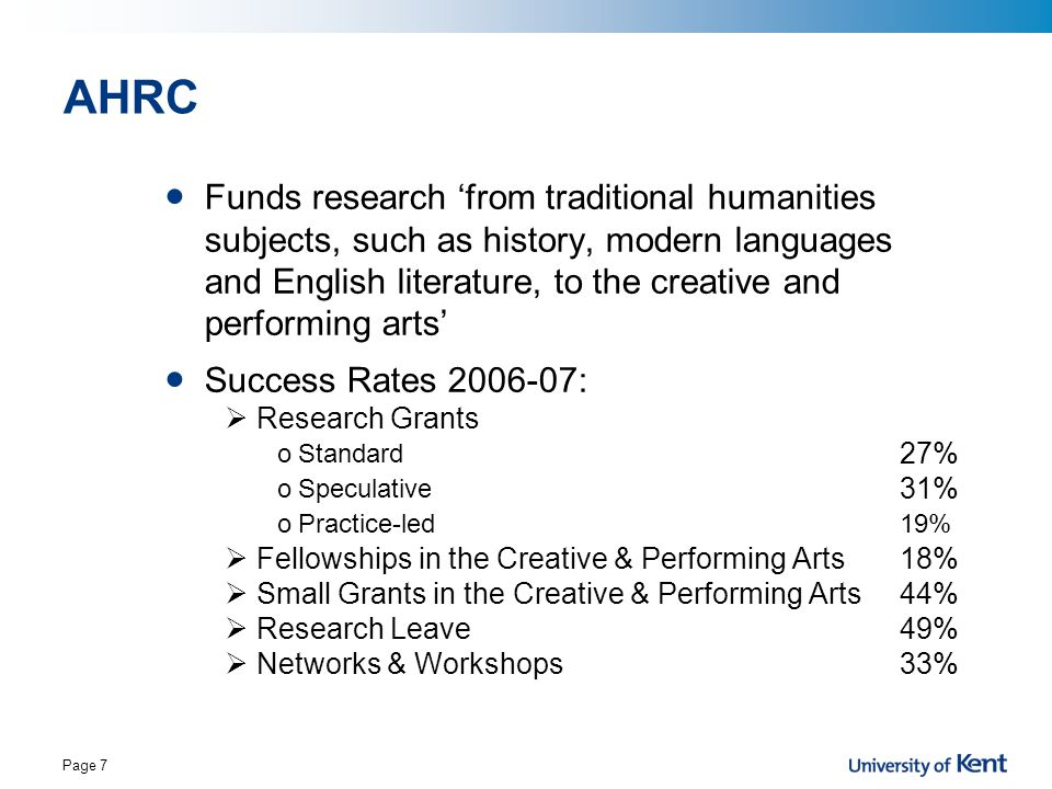Page 7 AHRC Funds research 'from traditional humanities subjects, such as history, modern languages and English literature, to the creative and perfor