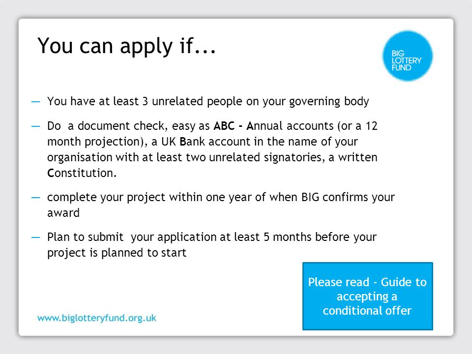 You can apply if...
