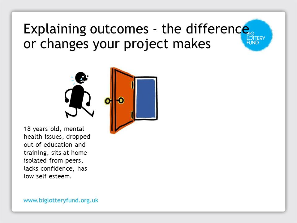 Explaining outcomes - the difference or changes your project makes 18 years old, mental health issues, dropped out of education and training, sits at home isolated from peers, lacks confidence, has low self esteem.