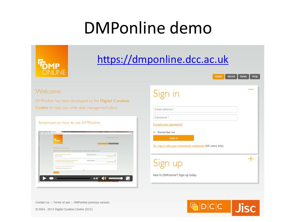 DMPonline demo https://dmponline.dcc.ac.uk