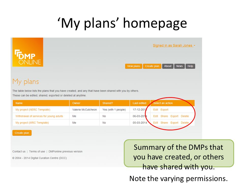 'My plans' homepage Summary of the DMPs that you have created, or others have shared with you.