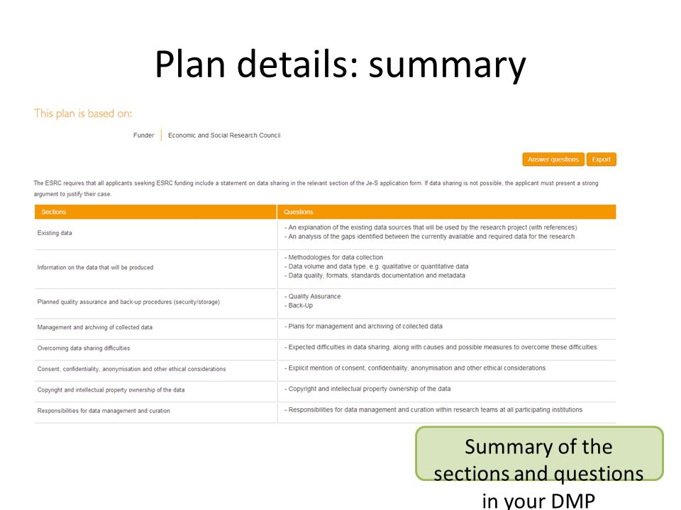 Plan details: summary Summary of the sections and questions in your DMP