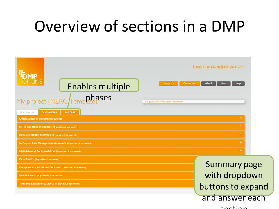 Overview of sections in a DMP Summary page with dropdown buttons to expand and answer each section Enables multiple phases
