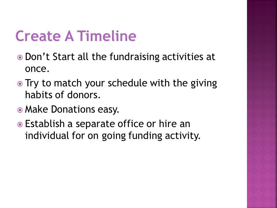  Don't Start all the fundraising activities at once.