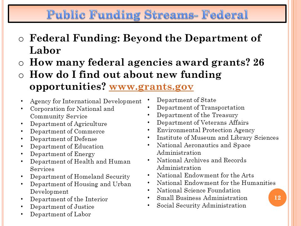 12 o Federal Funding: Beyond the Department of Labor o How many federal agencies award grants? 26 o How do I find out about new funding opportunities?