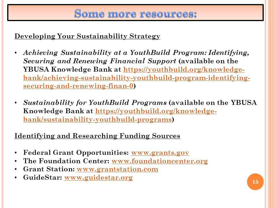 15 Developing Your Sustainability Strategy Achieving Sustainability at a YouthBuild Program: Identifying, Securing and Renewing Financial Support (ava