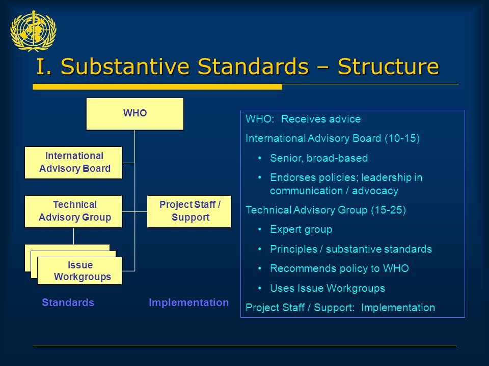 I. Substantive Standards – Structure WHO: Receives advice International Advisory Board (10-15) Senior, broad-based Endorses policies; leadership in co