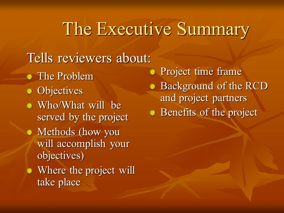 The Executive Summary Often the first and last thing a reviewer reads Often the first and last thing a reviewer reads Should be written last Should be written last Should speak for proposal Should speak for proposal Summarizes material of each major portion of the proposal Summarizes material of each major portion of the proposal
