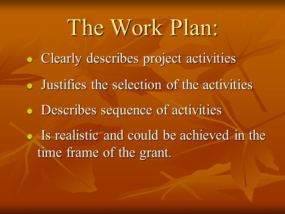 RCD Plan Problem Statement Goals & Objectives Tasks (Work Plan/Methods/Scope of Work) Budget Evaluation