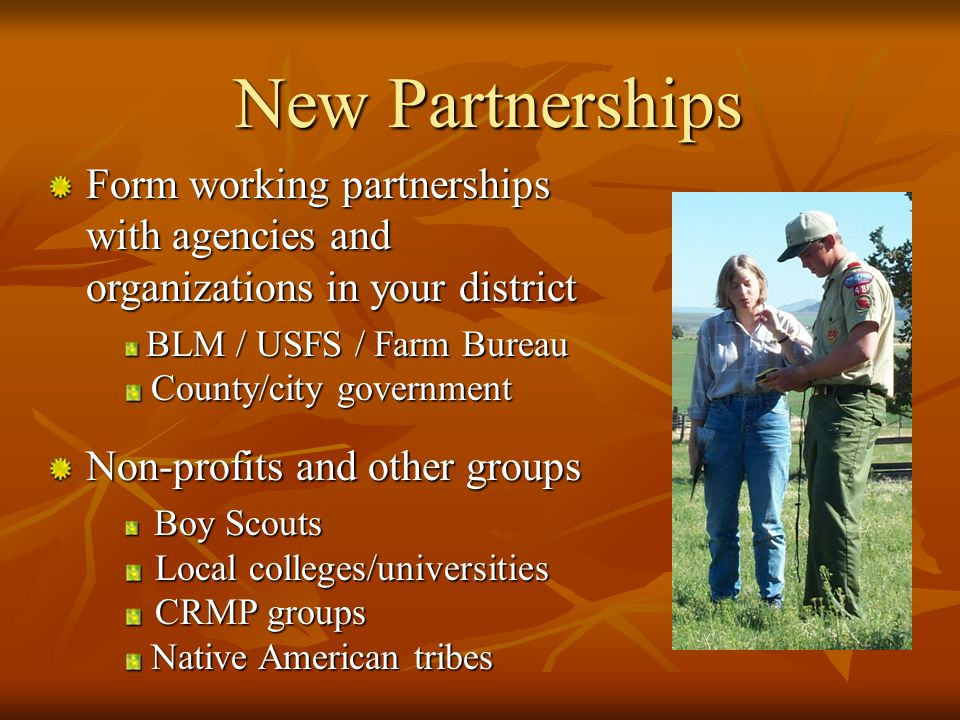 Traditional RCD Partnerships NRCS Provides technical assistance and acts as a federal liaison Formal relationship develop through MOUs with RCDs CARCD / NACD State and national advocates of public policy Coordinate and support RCD activities Ca Department of Conservation (DOC) Provides training and technical support on Division 9 Financial assistance via watershed coordinator grant program