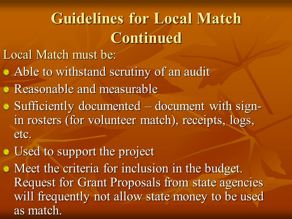Local Match Not all grants mandate that an applicant provide matching funds Cash – liquid asset such as cash or monies in a bank account.