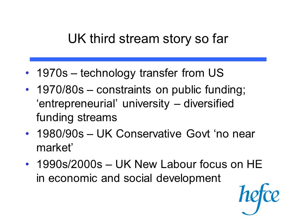 HEIF 4 – Purpose of funds To support a broad range of third stream (knowledge transfer/exchange, enterprise etc) activities and infrastructure, resulting in economic and social benefit –Not only with private sector – also public sector and charities, community groups etc –Synergy with research and teaching