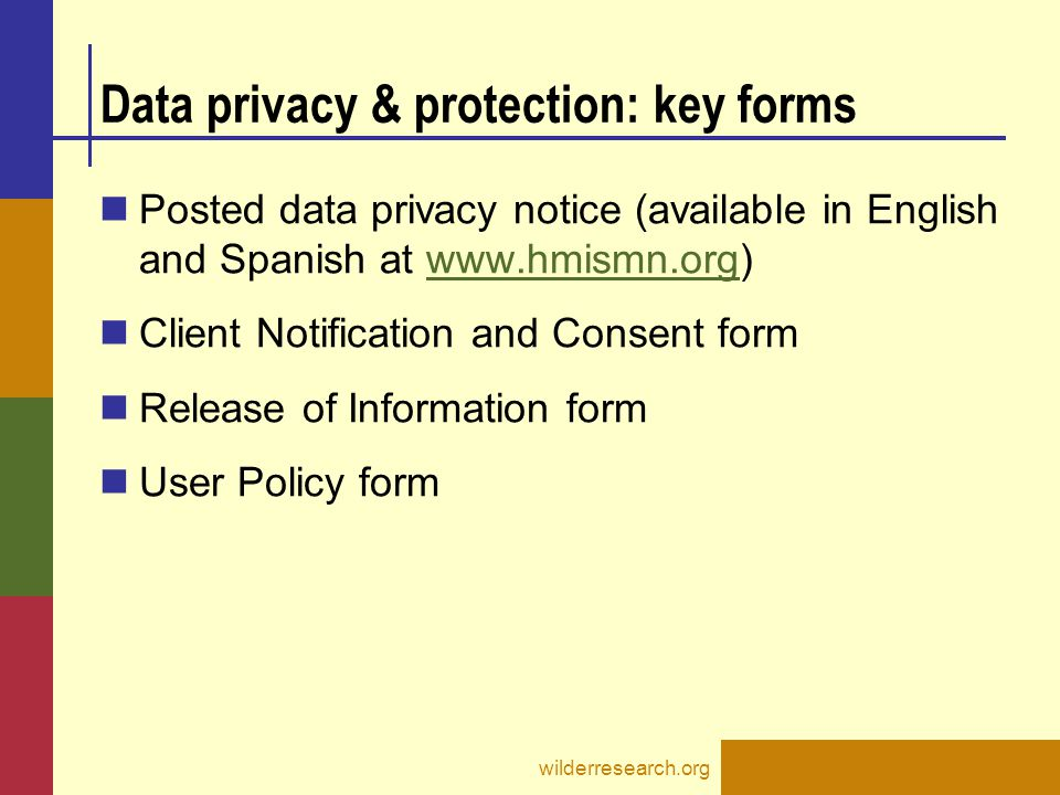 Data privacy & protection: key forms Posted data privacy notice (available in English and Spanish at www.hmismn.org)www.hmismn.org Client Notification