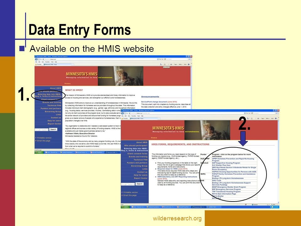 Data Entry Forms Available on the HMIS website wilderresearch.org 1. 2.