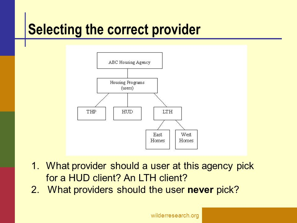 Selecting the correct provider wilderresearch.org 1.What provider should a user at this agency pick for a HUD client? An LTH client? 2. What providers